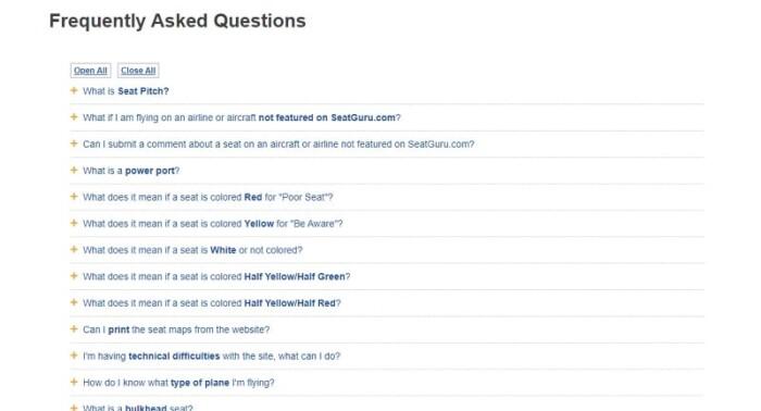 SeatGuru FAQs