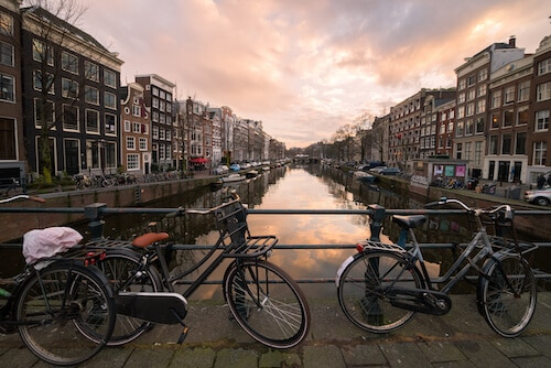 Bikes in Amsterdam at Sunset