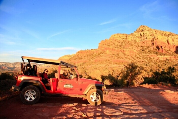 People taking a jeep tour of Sedona.