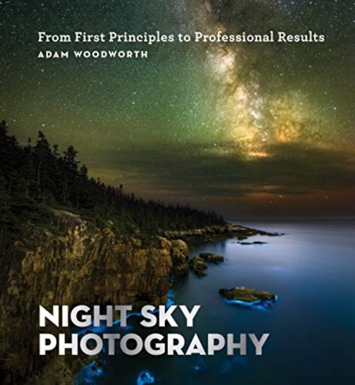 Nightsky Photography book cover, northern lights over lake and mountains