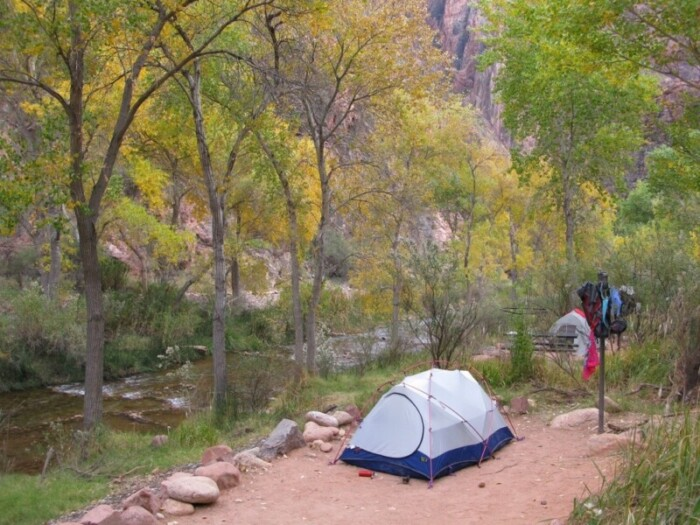 A tent in Bright Angel Campground