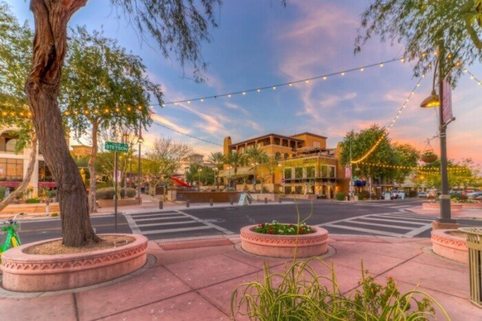Downtown Scottsdale looking at Stetson Street with palm trees