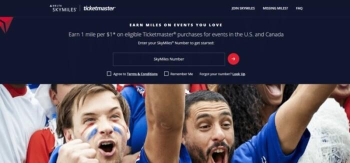 Delta SkyMiles Ticketmaster website