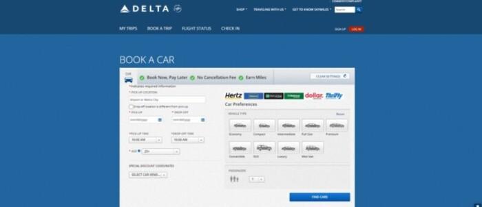 Delta miles for car rentals