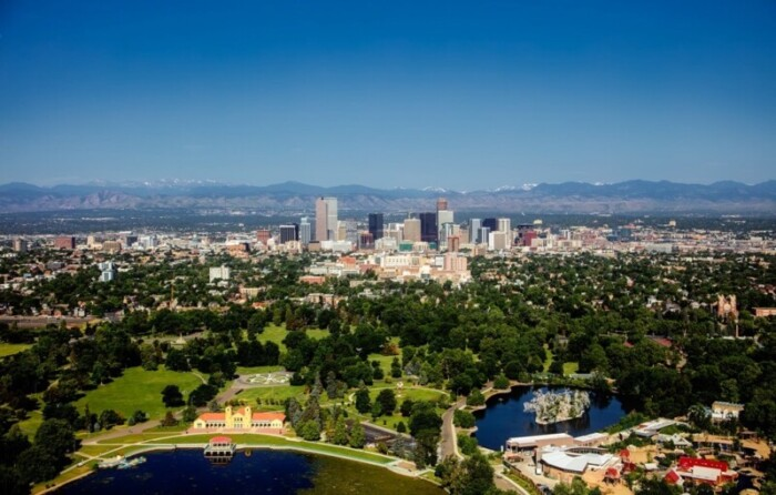 Denver with Rocky Mountains in the distance