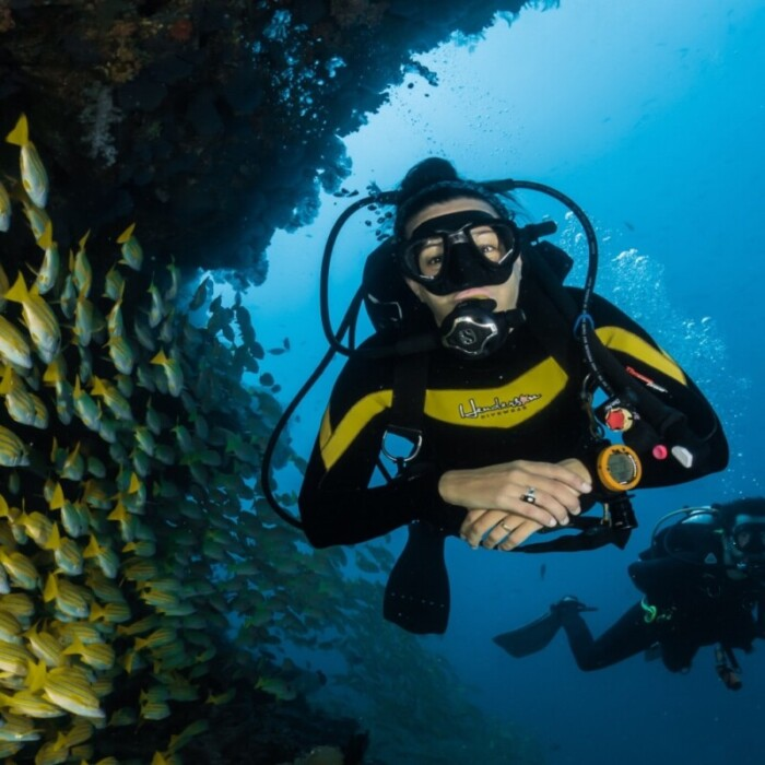 girl in scuba gear