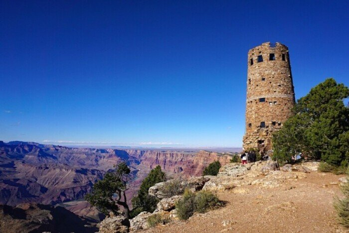 The old stone watchtower at the end of Desert View Drive