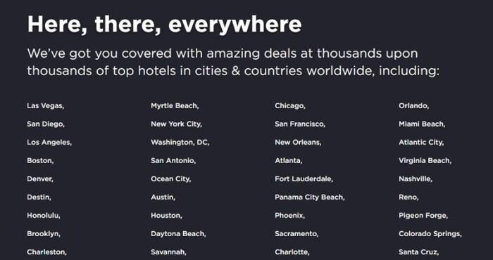 HotelTonight cities list