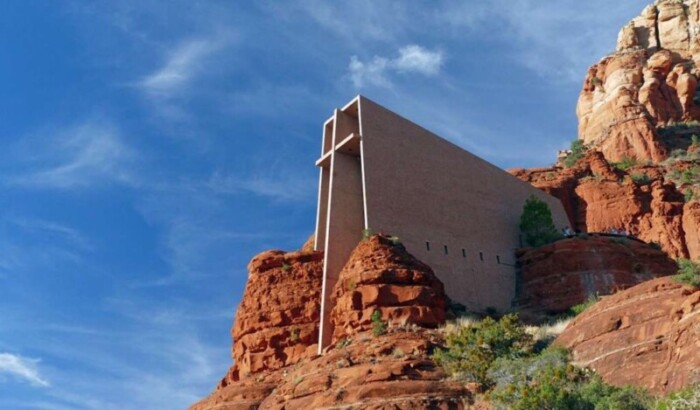 Angled view of the Holy Cross Chapel in Sedona