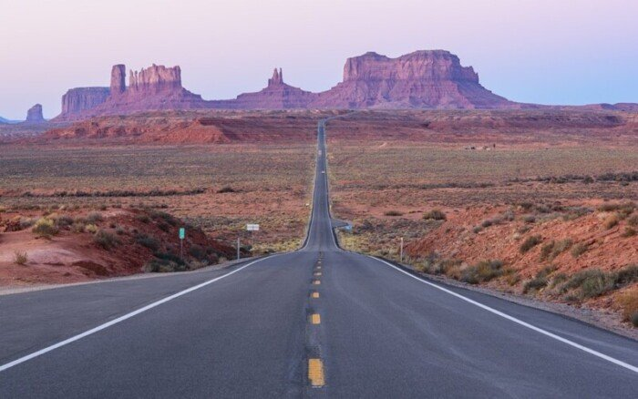 The road into Monument Valley