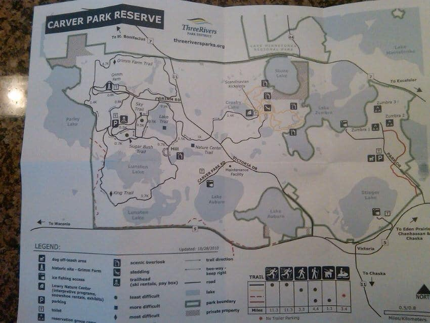 Map of The Carver Park Reserve Trails