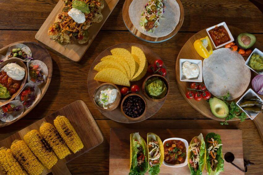 Various Mexican food