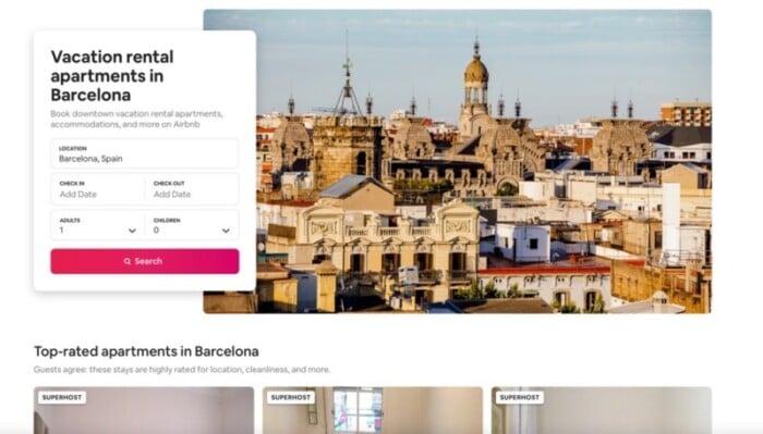 Airbnb screenshots of Barcelona rentals.