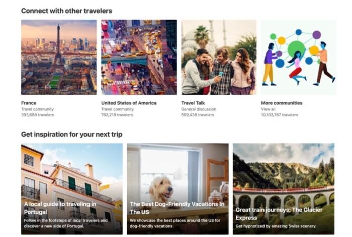 Screenshot of communities and Europe travel.