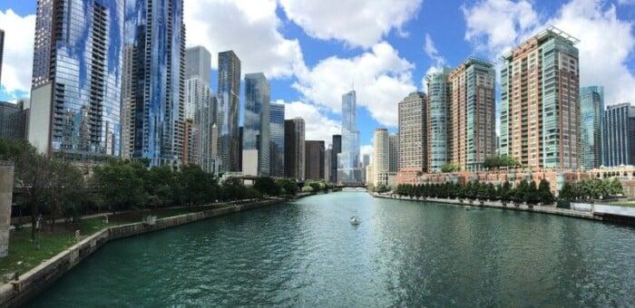split view of Chicago skyline