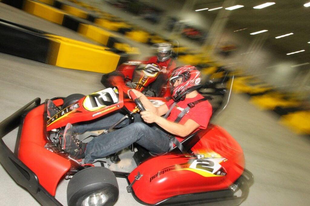 go kart going around corner