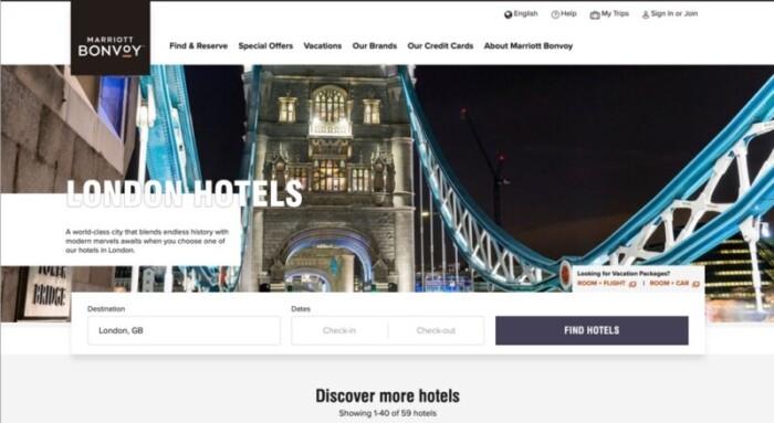 Marriott Screenshot of London Hotels