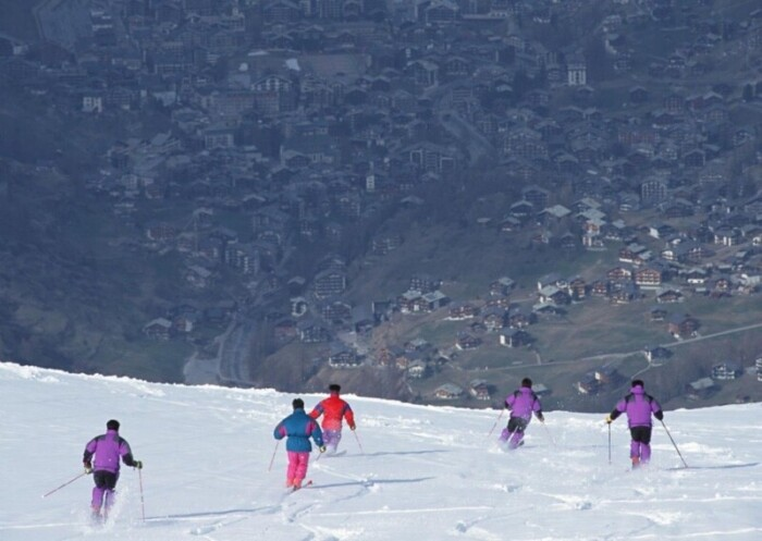 Five skiers