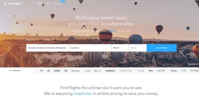 Screenshot of Skiplagged