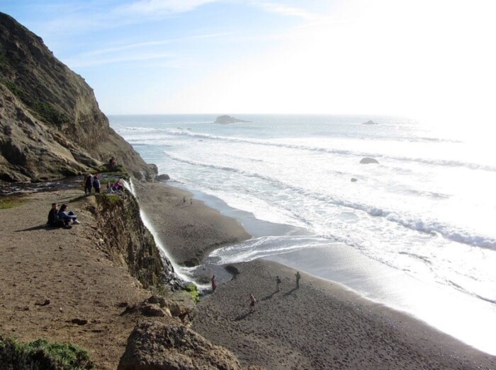 Alamere Falls flows directly into the Pacific Ocean