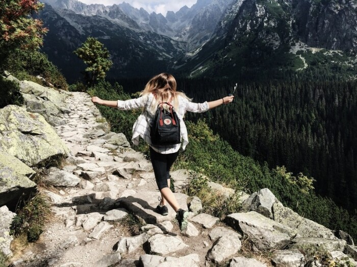 Girl Hiking on Mountain