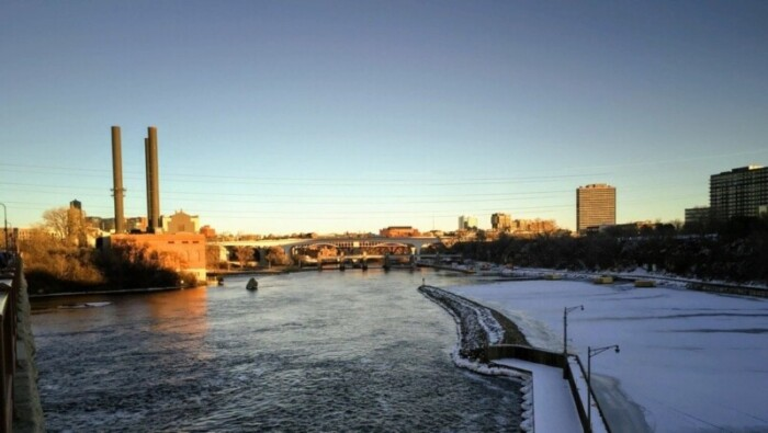 Mississippi River with snowy bank