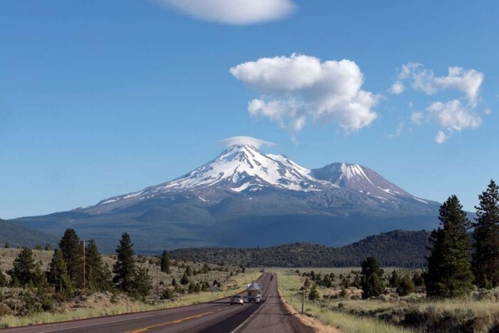 Mount Shasta at the end of a highway.