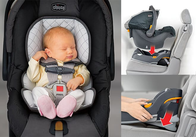 baby sleeping in a Chicco infant car seat