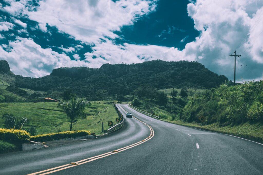 car coming down mountain road