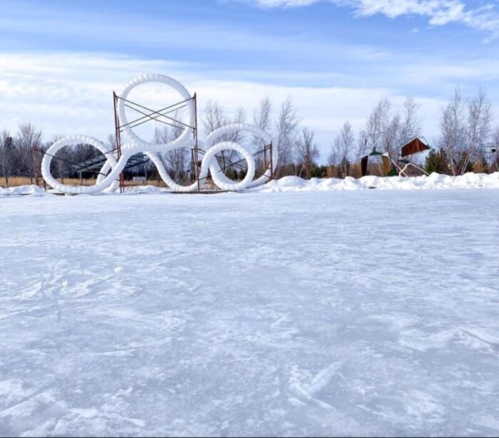 Franconia Sculpture Park in snow.