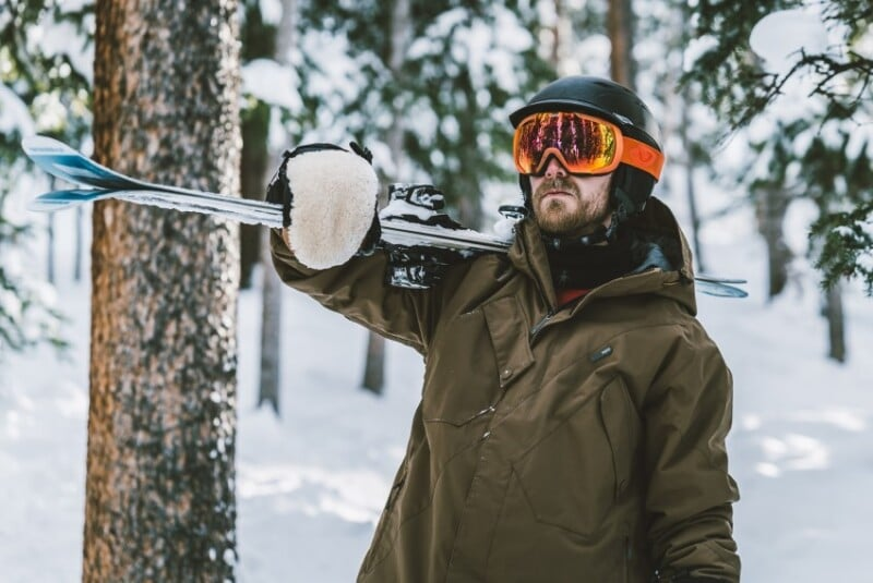 A man skiing during winter
