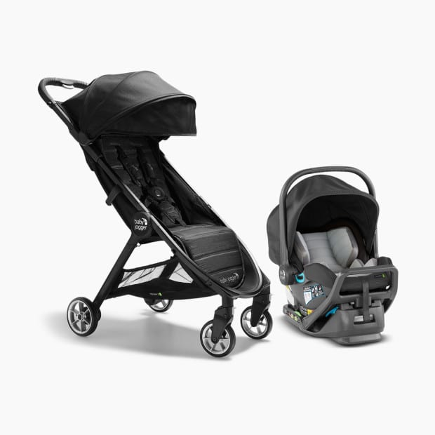 side view of the stroller with its two main components, in jet black