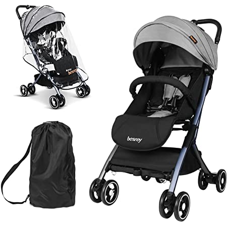 three shots of the Besrey Stroller in black, including its bag