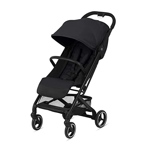 front/side view of the Cybex Beezy Ultra-Compact Stroller, in black
