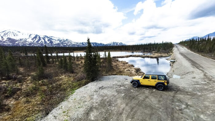 Yellow Jeep on Denali Highway