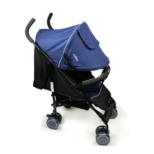 The blue and black variant of this stroller  with a prominent logo in white