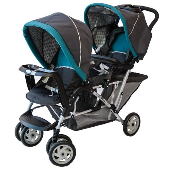 product view of the stroller in black with the stroller with blue accents