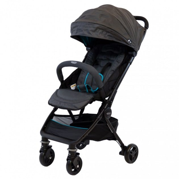 product view of the stroller in half frontal and half side view, with blue accents and opened canopy