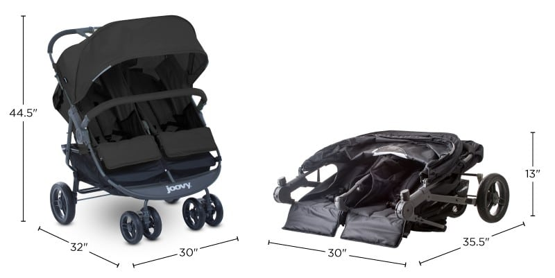 two images (folded and unfolded) of Joovy Scooter X2 Double Stroller with dimensions
