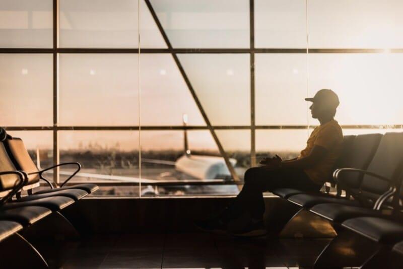Man waiting in an airport