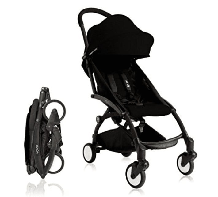 The stroller in black folded in the left side and unfolded at the right