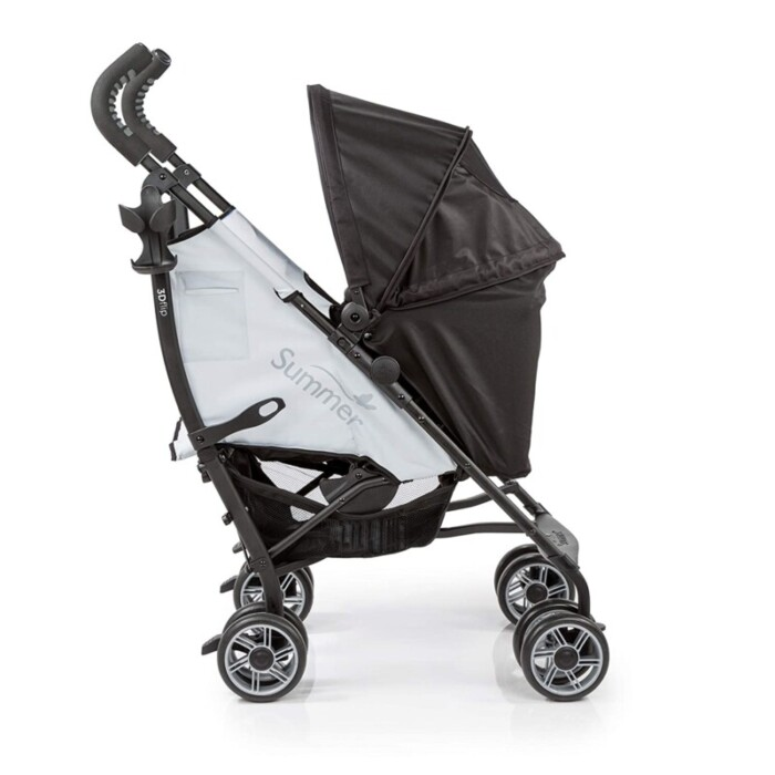 a side view of the  Summer 3Dflip Convenience Stroller, with logo embossed on the side, in grey and black