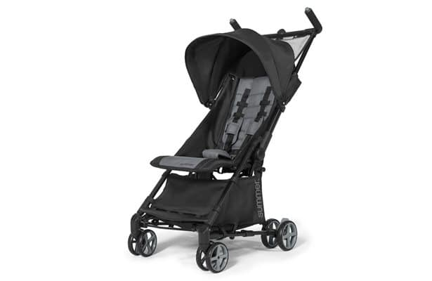 a full frontal picture of Summer Infant 3Dmicro Super Compact Fold Stroller, in black