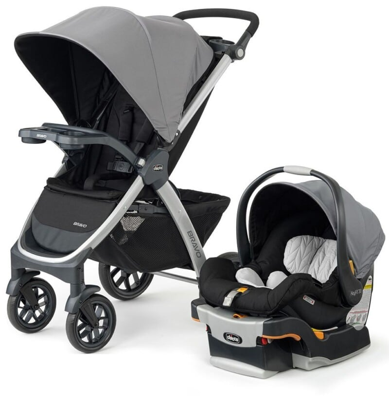 two images of the Chicco Bravo Trio Travel System