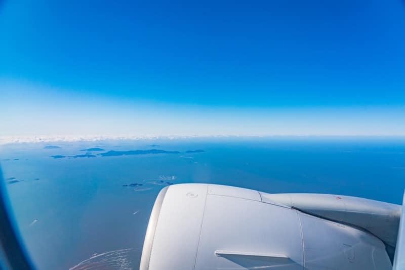 blue horizon out of a plane window