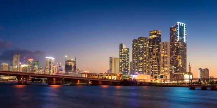 Miami City Skyline at Night