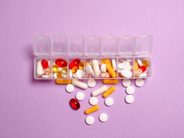 various pills inside a pills container/organizer