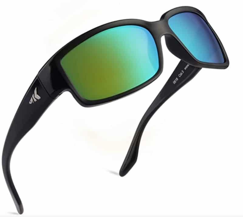 Polarized sunglasses with black frames