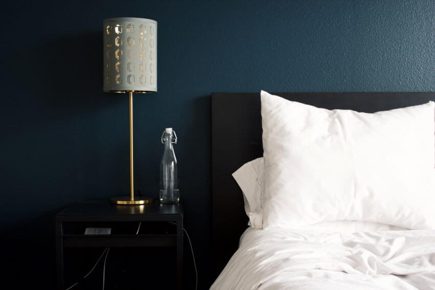 Hotel Bed with Lamp Shade