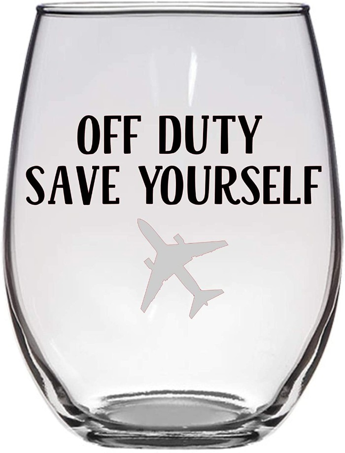 Off Duty Save Yourself Wine Glass